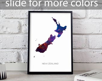 New Zealand poster New Zealand art New Zealand Map poster New Zealand print wall art New Zealand wall decor Gift poster