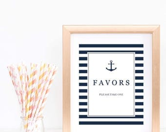 Nautical Favors Sign for Baby Shower Party Decorations Boy Table Signs for Baby Shower Printable Digital Download Deep Sea Baby Shower NS1