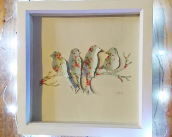 Floral Bird art - can be personalised at no extra cost, bird family, 3D birds, home decor, birthday gift, wedding gift, wall art, frame art