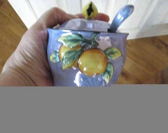 Vintage Luster Ware Sugar Bowl with Spoon