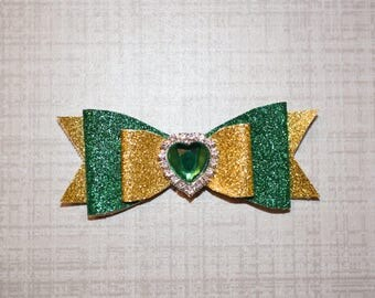 Green Heart Glitter Bow