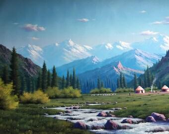 "Landscape Painting, Mountains of Kyrgyzstan. Ala Archa Park. 31.5""x55"" oil on canvas"