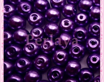 Set of 200 Pearl glass beads purple 6mm REF522
