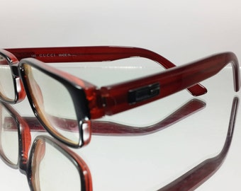 Vintage Authentic 90's [GUCCI] Burgundy Black Eyeglasses GG1180  Made In Italy