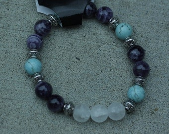 Amethyst, crystal quartz and turquoise bracelet