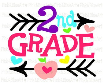 2nd grade SVG Clipart Cut Files Silhouette Cameo Svg for Cricut and Vinyl File cutting Digital cuts file DXF Png Pdf Eps