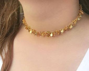 Chunky Gold Choker Necklace, Chunky Boho Choker, Boho Necklace,Gift For Her Mom Gift Sister Gift Girlfriend Gift, Bridesmaid