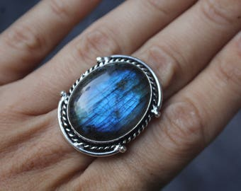 Sapphire Blue labradorite Sterling Silver Ring- Size 7- Labradorite Jewelry- Gift for her