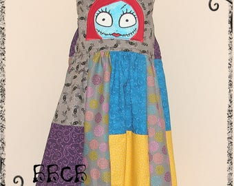 Girls Nightmare SALLY Dress - Dead Girl - Ready to Ship fits aprox 6/7 7/8 - Birthday Party - Christmas Scary Halloween - Jack