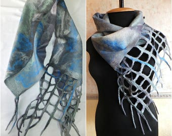 perfect gift felted scarves and wraps chunky scarf felted scarf scarves for women merino wool scarf handmade scarf natural wool felt