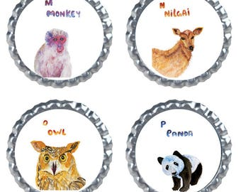 1 inch bottle cap images, tiny stickers printable, tiny sticker pack, sticker pack, animal stickers, animal collage, animal sticker pack