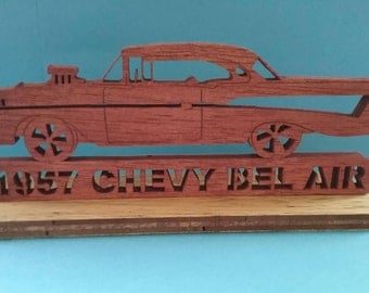 Classic 1957 Chevy Bel Air with Rest-mod, wooden scroll saw art with stand