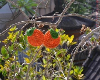 Orange Crochet Earrings