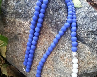 Royal Blue, White and Silver Beaded Necklace