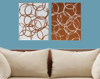 2 Canvas Copper circle pattern wall art