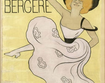 Retro poster Folies Bergere, vintage effect to this beautiful original design.