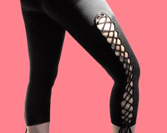 Lace up -  3/4 length  tights (Black, Large)