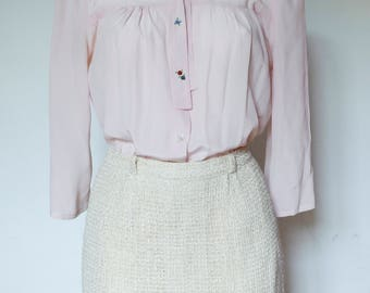 Silk pink blouse-hand embroidery beads-S (42) Blouse silk pastel light-Silk blouse with embroidery-chemisier Chemiserie 100 % soie