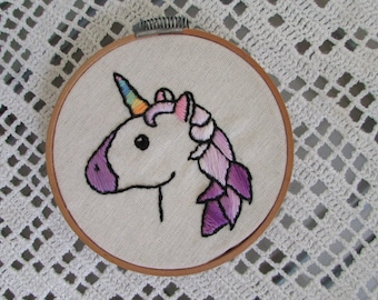 "Frame with handmade embroidery ""unicorn purple mane"""