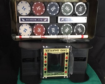 Casino Style Texas Hold'Em Poker Set in Tin and 6 Deck Card Shuffler