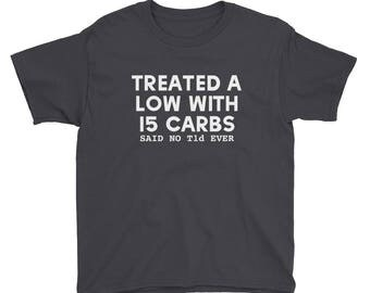 T1D 15 Carbs Diabetes Humor Youth Short Sleeve T-Shirt