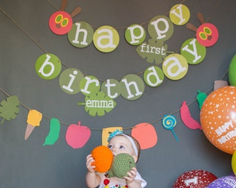 very hungry caterpillar birthday banner.  Very hungry caterpillar birthday,  caterpillar happy birthday banner