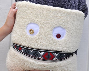 Aztec Monster Pillow & Blanket