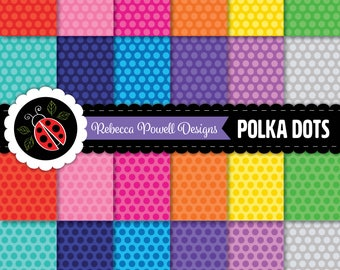Polka Dots Spots Pattern Digital Paper Set Tinted Rainbow Colours-Scrapbooking,Craft Use,Digital Backgrounds-Personal and Commercial Use