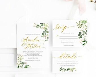 Faux Gold  Greenery Wedding Invitation, Green Leaves & Botanical Wedding invitations,  Floral Greenery Wedding Invitation, Wedding Suite 003