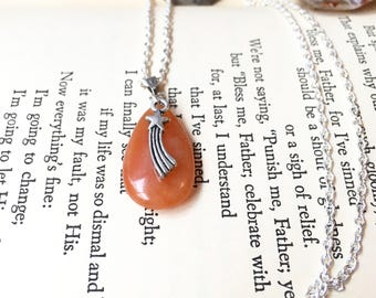 Make A Wish Necklace, Shooting Star Necklace, Orange Stone Necklace, Yellow Adventurine Necklace, Shooting Star Orange Crystal Necklaces