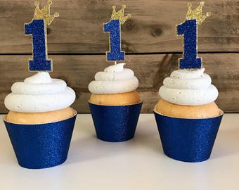 12 First Birthday Toppers, Crown Cupcake Toppers, Prince Cupcake Toppers, Crown Cupcake Toppers, One Cupcake Toppers, Prince Themed