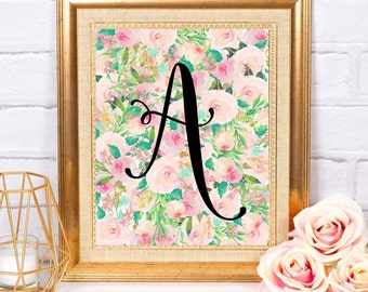 Custom Letter Printable Art Floral Watercolor Digital Download Home Office Dorm Little Girl Nursery Decor Wall Art Personalized
