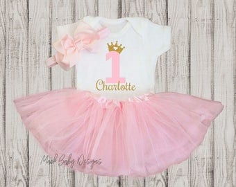 Personalized First Birthday Outfit Girl, 1st Birthday Girl Outfit, Girl First Birthday Outfit, Cake Smash Outfit, Pink and Gold
