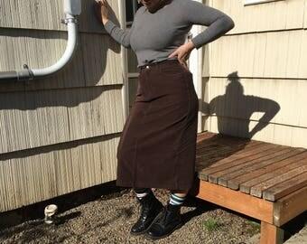 Vtg Eddie Bauer Corduroy Midi Skirt size 28/29