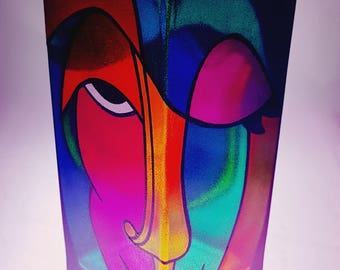 Abstract Faces hand painted vase by Bilbo.