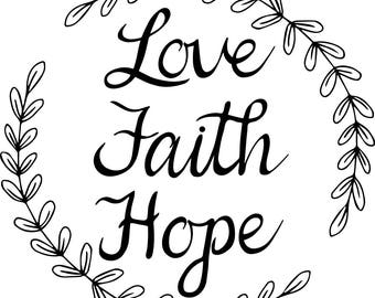 Love Faith Hope Quotes Prepossessing Love Faith Hope  Etsy