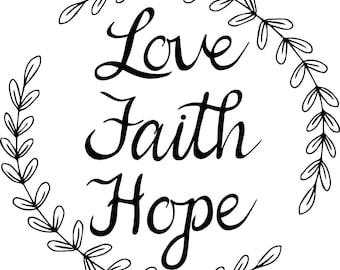Love Faith Hope Quotes Impressive Love Faith Hope  Etsy