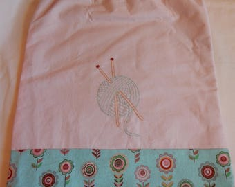 Embroidered Knitting Project Bag