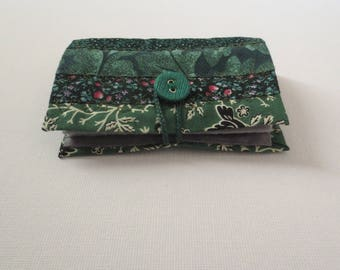 Needle Book - Forest Green Cotton Patchwork Quilted Handmade Needlebook Case Keeper w/ Grey Felt Sheets; Sewing Quilter Gift by Proxy Goods