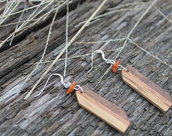 CHOICE OF STONE Natural Wood Jewelry Handmade Dangle Wood Earrings Lightweight Wooden Earrings Wooden Gift for Her Minimalist Gift Geometric