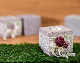 Concrete Tealight, Decorated,Concrete Candle,Concrete Planter, , Gift, Hone Decor, Home Living