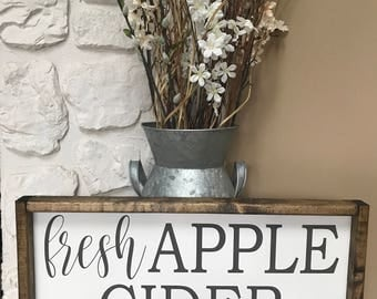 Fresh Apple Cider. Fall. Wood Sign. Wood Framed Sign. Wood Frame. Rustic. Farmhouse. Wall Decor. Home Decor.