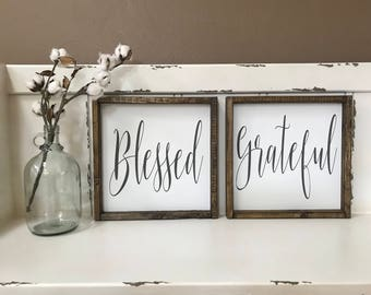 Set of 2. Blessed. Grateful. Wood Sign. Wood Framed Sign. Wood Frame. Rustic. Farmhouse. Wall Decor. Home Decor. Wood.