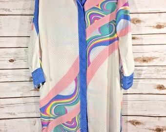 Hal Ferman Donald Curtis Dress Size 16 MuuMuu Vintage House Moo Pastel RR