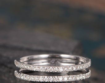 Unique Wedding Band White Gold Cage Ring Pave Diamond Minimalist Delicate Double Stacking Half Eternity Anniversary Promise Ring Bridal Gift