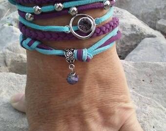 Purple & Aqua Faux Suede Wrap Bracelet