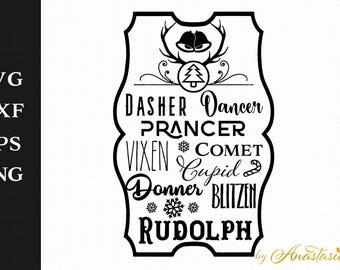 Reindeer names board - Dasher, Dancer, Prancer, Vixen, Comet, Cupid, Donner, Blitzen & Rudolph SVG Cut File