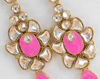 Hot Pink and Gold Drop Earrings, Indian Earrings, Bollywood Earrings, Drop Earrings, Chandelier Earrings, Pink Earrings, Pink Drop Earrings