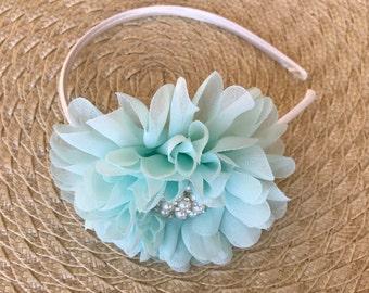 Large Teal Flower Headband, Easter Headband, white satin headband, flower with jewel,