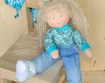 18 Inch doll Waldorf Doll Rag doll Textile doll With Long Curly Hair Waldorf Doll With Blond Hair Doll Role Play Doll Soft Body Nature Doll